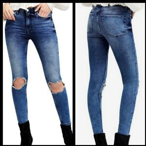 Free People Busted Knee High Rise Jeans Sz 28